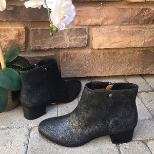 Trask-NWOT Vivian Metallic Suede Booties Boots